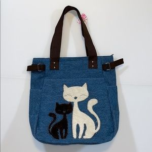 (NWT) Canvas Fuzzy Cat Print Tote Bag